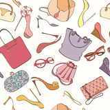 Seamless bag pattern. Seamless women fashion pattern can be used for wallpaper, website background, wrapping paper. Fashion women bag and shoes vector bright Royalty Free Stock Images