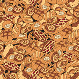 Seamless bakery background. With cartoon sweets, baked goods, desserts. Pattern with hand drawn elements royalty free illustration