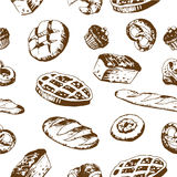 Seamless bakery background. With sketch sweets, baked goods, desserts. Pattern with hand drawn elements stock illustration