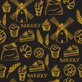 Seamless bakery pattern. Retro design. Vector illustration. Royalty Free Stock Photography