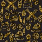 Seamless bakery pattern. Retro design. Vector illustration. Royalty Free Stock Photography