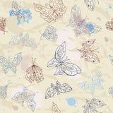 Seamless bakgrund för fjärilar Arkivbilder
