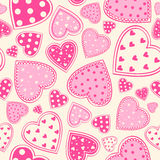 Seamless bakgrund för rosa hjärtor Royaltyfria Foton