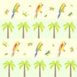 Seamless bakgrund med palmträdet och papegojor Stock Illustrationer