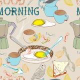 Seamless bakgrund för tappningmorgonfrukost Royaltyfria Bilder
