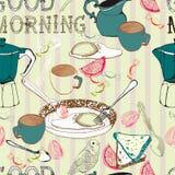 Seamless bakgrund för tappningmorgonfrukost Fotografering för Bildbyråer