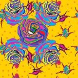 Seamless bakgrund Mångfärgade rosor på en gul bakgrund stil för popkonst Fotografering för Bildbyråer