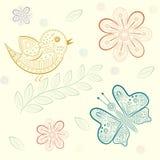 Bakgrund med blommor, fåglar och fjärilar Stock Illustrationer