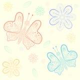 Bakgrund med blommor och fjärilar Vektor Illustrationer