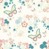 Bakgrund med blommor och fjärilar Royaltyfri Illustrationer