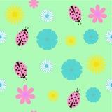 Bakgrund med blommor och nyckelpigan Stock Illustrationer