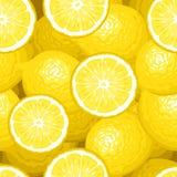 Seamless bakgrund med citroner. Fotografering för Bildbyråer