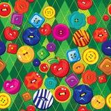 Seamless bakgrund med färgrik sömnad knäppas stock illustrationer