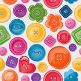 Seamless bakgrund med färgrika knappar stock illustrationer