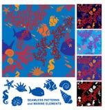 Seamless bakgrund med korallreven royaltyfri illustrationer