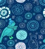 Seamless bakgrund med snowflakes och fåglar Royaltyfri Bild