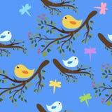 seamless bakgrundsfåglar stock illustrationer