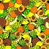 seamless bakgrundsfrukt tecknad hand Arkivfoto