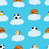 Seamless balls in clouds Royalty Free Stock Photo