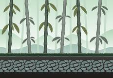 Seamless bamboo landscape for game background. It can be repeated or tiled without any visible seams Royalty Free Stock Images