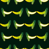 Seamless banana pattern. Background is on a separate layer, so you can easily change its color Stock Photos