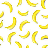Seamless banana pattern isolated on white background. Vector illustration Stock Photos