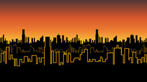 Seamless band of the city at sunrise or sunset with yellow neon color. Vivid glow of the contours of tall buildings. Royalty Free Stock Photos