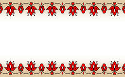 Seamless band with red traditional Hungarian floral motives royalty free stock photography