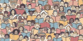 Seamless banner of children reading colorful books stock photos