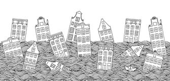 Seamless banner with drowning houses Stock Image