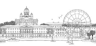 Seamless banner of Helsinki. Helsinki, Finland - Seamless banner of the city's skyline, hand drawn black and white illustration Stock Images