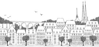 Seamless banner of Luxembourg. Luxembourg City, Luxembourg - Seamless banner of the city's skyline, hand drawn black and white illustration Stock Photography