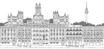 Seamless banner of Madrid. Madrid, Spain - Seamless banner of the city's skyline, hand drawn black and white illustration royalty free illustration