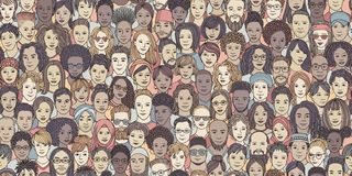 Free Seamless Banner Of Diverse Hand Drawn Faces Stock Photos - 125031443