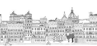 Seamless banner of Rome's skyline Royalty Free Stock Photography