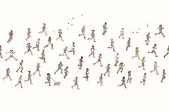 Seamless banner of tiny marathon runners. Can be tiled horizontally: a diverse collection of small hand drawn men and women running from left to right Stock Photo