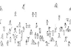 Seamless banner of tiny people, can be tiled horizontally. Tiny pedestrians, people in the street, a diverse collection of tiny hand drawn men and women walking vector illustration
