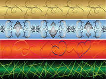 Seamless banners. 4 seamless colorful banners. Repeat many times Stock Photo