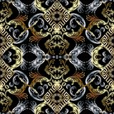 seamless barock modell Damast bakgrundswallpap för svart vektor royaltyfri illustrationer