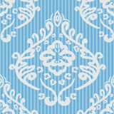 Seamless baroque damask blue background Stock Image
