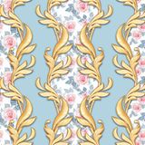 Seamless baroque pattern 3. Seamless golden baroque pattern with watercolor roses vector illustration