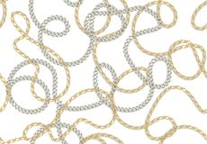 Seamless Baroque print with golden realistic chains, belts for fabric design. Seamless  vector pattern stock illustration
