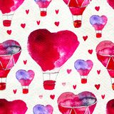 Seamless based on a watercolor illustration. Balloon in the form of heart flying in the sky. stock illustration