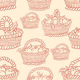 Seamless basket apples Royalty Free Stock Images