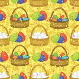 Seamless, basket with Easter eggs. Seamless background, basket with colorful painted chicken Easter eggs Stock Photography