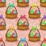 Seamless, Basket with Easter Eggs. Seamless Pattern, Basket with Colorful Painted Chicken Eggs and Red Bow on the Handle. Easter Holiday Tile Background. Vector Royalty Free Stock Photography