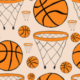 Seamless basketball baskets and balls Stock Photos