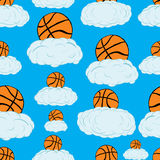 Seamless basketballs on clouds Royalty Free Stock Images
