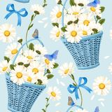 Seamless baskets of camomiles. Vector seamless pattern with baskets of camomiles on blue background stock illustration
