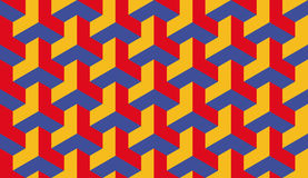 Seamless bauhaus red blue and yellow op art trilateral hexagonal pattern vector Royalty Free Stock Images